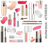 vector makeup cosmetics with...   Shutterstock .eps vector #675330310