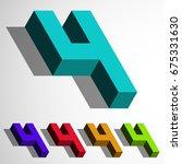 isometric 3d vector number four ...   Shutterstock .eps vector #675331630