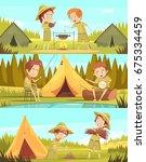 scouting boys summer camp... | Shutterstock .eps vector #675334459