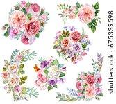 set of flowers bouquets...   Shutterstock . vector #675339598