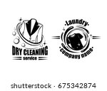 dry cleaning service logo or... | Shutterstock .eps vector #675342874
