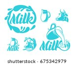 milk logo  icon or badge.... | Shutterstock .eps vector #675342979