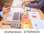 business adviser analyzing... | Shutterstock . vector #675344323