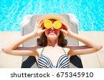 summer holidays concept   woman ... | Shutterstock . vector #675345910