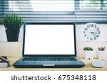 wooden desktop with blank white ... | Shutterstock . vector #675348118