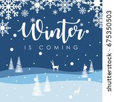 winter time typographic poster. ... | Shutterstock .eps vector #675350503