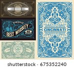 set of old cards. western style | Shutterstock .eps vector #675352240