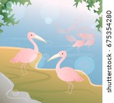pink pelicans standing at the... | Shutterstock .eps vector #675354280