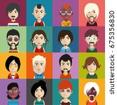 set of people icons with faces | Shutterstock .eps vector #675356830
