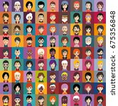 set of people icons with faces | Shutterstock .eps vector #675356848