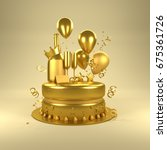 gold birthday surprise.... | Shutterstock . vector #675361726