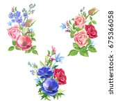 collection bouquets of roses ... | Shutterstock .eps vector #675366058