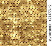 3d render  golden honeycomb... | Shutterstock . vector #675377140