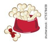 dog food bowl with bones... | Shutterstock .eps vector #675378658