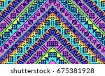 neon bright navajo shapes in... | Shutterstock .eps vector #675381928