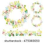 hand drawn vector floral wreath ... | Shutterstock .eps vector #675383053