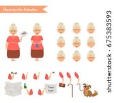 grandmother housewife character ... | Shutterstock .eps vector #675383593