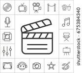 film screening. thin line... | Shutterstock .eps vector #675384340