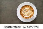 top view of hot coffee... | Shutterstock . vector #675390793