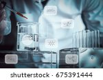 scientist dropping chemical...   Shutterstock . vector #675391444