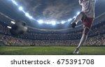 soccer player kicks the ball... | Shutterstock . vector #675391708