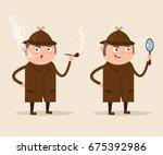 smiling detective man character ... | Shutterstock .eps vector #675392986