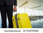 businessman and suitcase in the ... | Shutterstock . vector #675395983