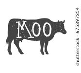 cow silhouette with moo text.... | Shutterstock . vector #675397354