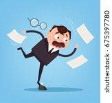 falling unsuccessful sad office ... | Shutterstock .eps vector #675397780