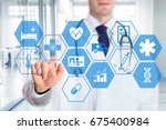 medical doctor touching icons... | Shutterstock . vector #675400984