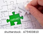 compliance puzzle with female... | Shutterstock . vector #675403810