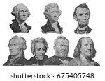 the presidents on dollar of us... | Shutterstock . vector #675405748