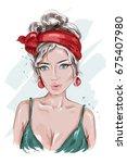 beautiful pin up girl. hand... | Shutterstock .eps vector #675407980