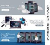 three horizontal datacenter... | Shutterstock .eps vector #675409294