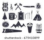 vintage hand drawn adventure... | Shutterstock .eps vector #675410899