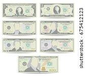 dollars banknote set vector.... | Shutterstock .eps vector #675412123