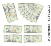 100 dollars banknote stack... | Shutterstock .eps vector #675412129