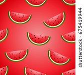seamless vector watermelon hand ... | Shutterstock .eps vector #675419944