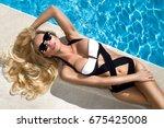 beautiful stunning  sexy blonde ... | Shutterstock . vector #675425008