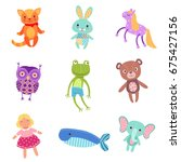set of cute colorful soft plush ... | Shutterstock .eps vector #675427156