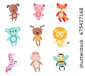 cute colorful soft plush animal ... | Shutterstock .eps vector #675427168