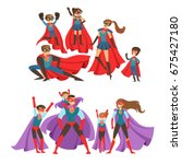 family of superheroes set.... | Shutterstock .eps vector #675427180