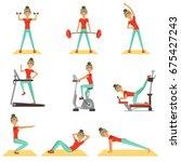 beautiful woman exercising in... | Shutterstock .eps vector #675427243
