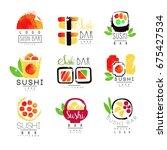 sushi bar logo template set ... | Shutterstock .eps vector #675427534