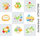 vitamins logo set of colorful... | Shutterstock .eps vector #675427588