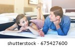 glad  positive  family couple... | Shutterstock . vector #675427600