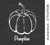 hand drawn fresh pumpkin.... | Shutterstock .eps vector #675429508