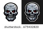 the metal skull of the robot....   Shutterstock .eps vector #675432820