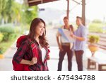 traveler asian woman walking...   Shutterstock . vector #675434788