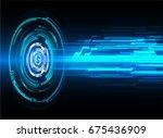 future technology  blue cyber... | Shutterstock .eps vector #675436909